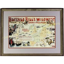 "Reproduction print of Buffal Bill Wild West show double matted and framed, image 16"" X 23"".  Est. 25"