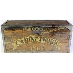 "Great wooden tool box with original painted ""Cabinet Work"" ""H.W. Cofer"" to the front, 11"" X 15"" X 34"