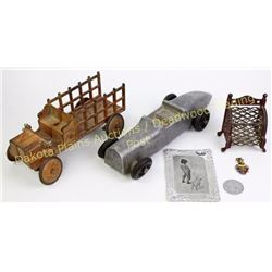 "Collection of 6 includes antique cast iron Army Motor Truck, 9"" long, Cash bank, aluminum Speedster"