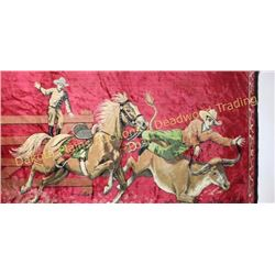 "Collection of 2 includes a minty vintage cowboy tapestry with sewn in rod loops at top, 48"" X 72"", a"