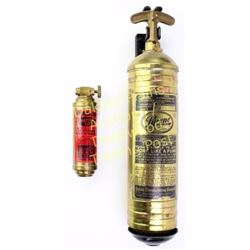 Collection of 2 antique brass fire extinguishers. Est. 25-75