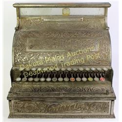 Antique National Cash Register No. 3 SN 70641 nickel case shipped to Gainesville, MO 1894. Remains i