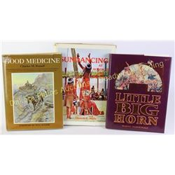 Collection of 3 reference books including Good Medicine Charles Russell, Little Big Horn, and Sundan