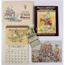 Collection of 13 items includes small 1948 Natures Remedy Laxative art calendar with full pad, 4 sma