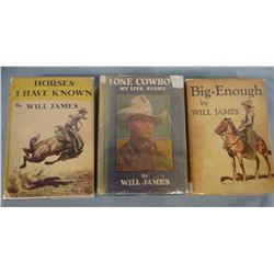 James, Will, 3 very good 1st editions in good dust jackets, Lone Cowboy, 1930; Big Enough, 1931, Hor