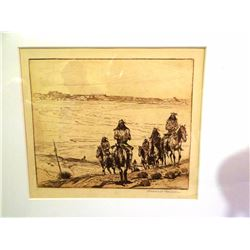 "Borein, Edward, (1872-1945), signed etching, 6 x 7,  ""war Party"""