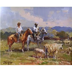King, Jack  8 x 10, Two Riders and Cattle (gouache)