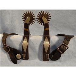 Kelly Bros spurs, 4 heart pattern, ca. 1910 - 1920, flat marked, double silver mtd., early hand file