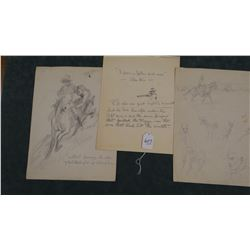 3 Will James original pencil and pen/ink drawings, all un-signed, un-framed, asstd. sizes,