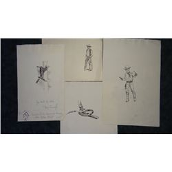 4 Will James original pencil and pen/ink drawings, all un-signed, asstd. sizes, un-framed