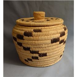 "Papago basket with lid,  6 x 6"", ca 1980"