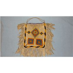 "Plains Indian beaded tanned hide bag, 8"" x 5 3/4"""