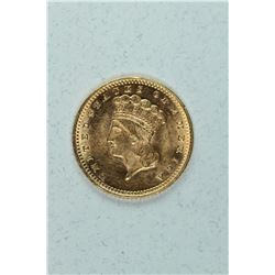1874 $1 Gold Indian Princess Head, about MS63