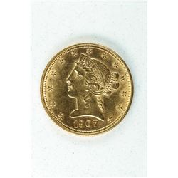 1907 D $5 Gold Coronet, about MS63