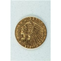 1909 $2½ Gold Indian Head, about MS63