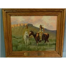 Morgan, R. F., 8 x 10 , Two mounted indians, (oil)