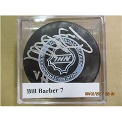 Bill Barber 7 autographed hockey puck