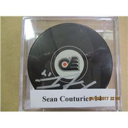 Sean Couturier 14 autographed hockey puck