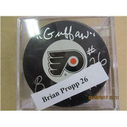 Brian Propp 26 autographed hockey puck
