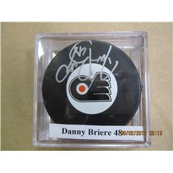 Danny Briere 48 autographed hockey puck