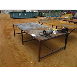 5'X10' METAL TABLE W/VISE & GRINDER