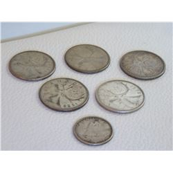 5 Canadian Silver Quarters + 1 Canadian Silver Dime