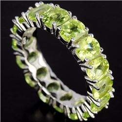 Natural Green Peridot Eternity Band