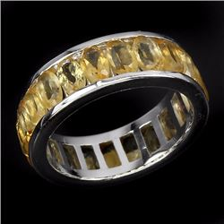 Natural Yellow Citrine Eternity Ring