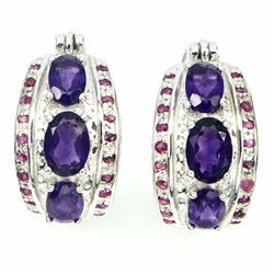 Natural  Intense Purple Amethyst Ruby Earrings