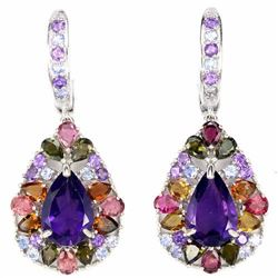 NATURAL AMETHYST TOURMALINE TANZANITE EARRINGS