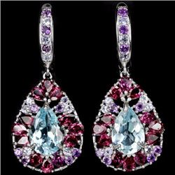 Natural TOPAZ AMETHYST RHODOLITE TANZANITE Earrings