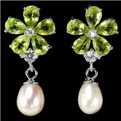 Natural Peridot & Japanese Pearl Earrings
