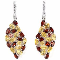 Natural Garnet & Citrine Earrings