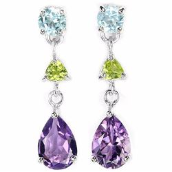 Natural MULTI COLOR AMETHYST TOPAZ & PERIDOT Earring