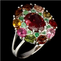 Natural Fancy Colors Tourmaline & Emerald Ring