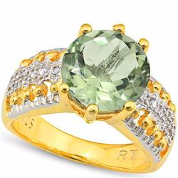 Natural Green Tea Amethyst & Diamond Ring