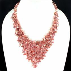 Natural Pink Rhodochrosite Pearl 376 Carats Necklace