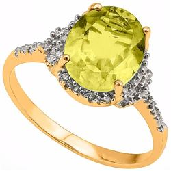 Natural Lemon Topaz & Diamond Ring