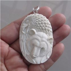 Hand Carved Bear & Eagle Pendant