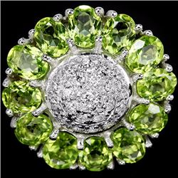 Natural Green Peridot 25 Carats Flower Ring