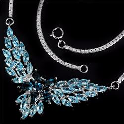 Natural Sky & London Blue Topaz Necklace
