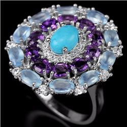 Natural Turquiose & Multi Gem Ring