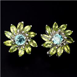 Natural Seafoam Blue Zircon Peridot 56.45 Carats Earrings