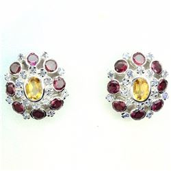 Natural  Yellow Citrine Garnet Tanzanite 46 Ct Earrings