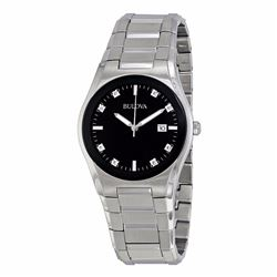 Bulova Black Dial Diamond Watch