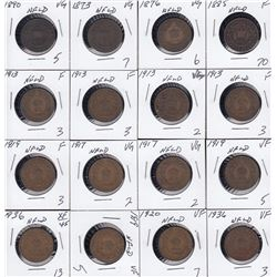Lot of 17 Newfoundland One Cents