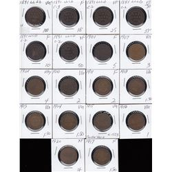 Lot of 18 Canada Large Cents
