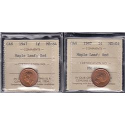 1947 One Cent - Lot of 2