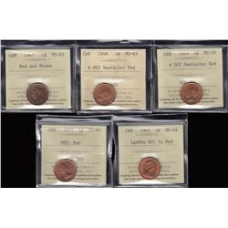 Lot of 5 ICCS Graded One Cent Coins