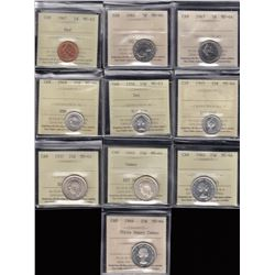 Lot of 10 ICCS Graded Coins